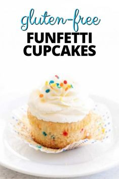 Festive homemade gluten free Funfetti cupcakes with fluffy buttercream frosting are the perfect way to make anything a celebration. They're made in a small batch that can easily be doubled. Best Gluten Free Desserts, Gluten Free Recipes For Breakfast, Foods With Gluten, Gluten Free Baking, Fun Desserts, Delicious Desserts, Dessert Recipes, Buttercream Frosting For Cupcakes, Yummy Cupcakes