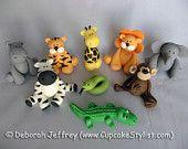 Items similar to Set of 9 Edible Fondant Safari Animal Cake and Cupcake Toppers by Cupcake Stylist on Etsy on Etsy Zoo Cake, Jungle Cake, Fondant Toppers, Cupcake Toppers, Cupcake Cakes, Zoo Animal Cakes, Safari Animals, Animal Cupcakes, Wild Animals
