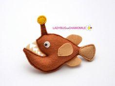 Felt ANGLERFISH stuffed felt Anglerfish magnet or ornament