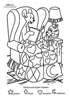 Kengu ja Ruu -värityskuva. Lasten Oman Kirjakerhon tulostettavat värityskuvat. Free printable pattern. lasten   askartelu   käsityöt   värittäminen   DIY ideas   kid crafts   colouring