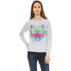 KENZO Classic Tiger Sweatshirt ($280) ❤ liked on Polyvore featuring tops, hoodies, sweatshirts, light grey, long sleeve sweatshirts, crew-neck sweatshirts, long sleeve tops, light grey sweatshirt and kenzo sweatshirts