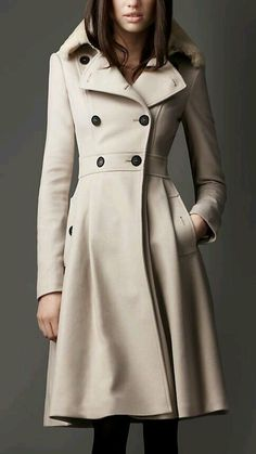 Beige wool double breasted coat with pleats. #coat
