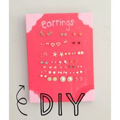 Earring holder DIY paint canvas, let dry, stick earrings in!