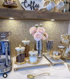 Hanging Kitchen Cabinets, Coffee Bar Design, Coffee Station Kitchen, Marble Tray, Luxury Bedroom Design, Kitchen Chandelier, Glam Room, Pantry Design, Gold Texture