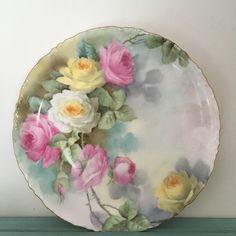 Rosenthal Porcelain Plate Versailles Bavaria Pink Hand Painted Roses Gold Trim