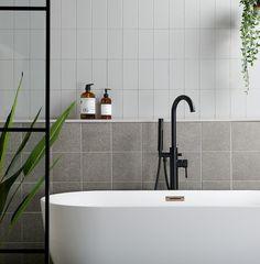 London Bridge Gloss Grey Flat Metro Tiles walls and floors, affiliate partner Grey Bathroom Tiles, Bathroom Wall, Wall Tiles, Brick Tiles, Mid Century Modern Bathroom, Basin Vanity Unit, Bath Panel, Wall Hung Toilet, Retro Bathrooms