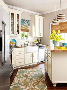 Swap out Window Treatments, Rugs, and Shades on Light Fixtures