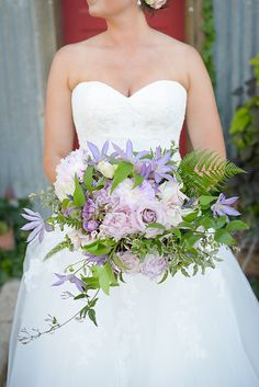 Bridal Bouquet with lavender roses, peonies, and fern
