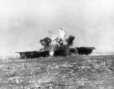 USS Essex hit amidships by a kamikaze, November 25, 1944