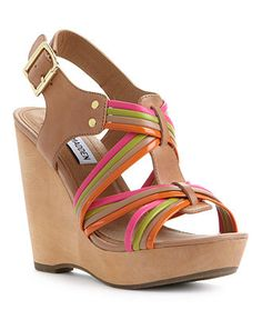 Steve Madden Tampaa Wedge Sandals Bright Multi ($99)
