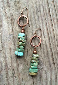 Turquoise Earrings, Blue Green Turquoise Dangle Earrings