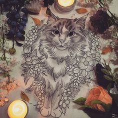 Floral Decorative Cat Drawing by Georgia Liliane. Body Art Tattoos, Tattoo Drawings, Hase Tattoos, Tattoo Gato, Tattoo Samurai, Rite De Passage, Petit Tattoo, Cat Drawing, Animal Tattoos