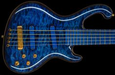 Ritter Cora #1150  - FLYING BLUE High Gloss Finish  - Quilted maple Top  - Maple Neck (Bolt on 3-Pieces)  - Flamed Maple Fingerboard  - Golden Frets  - 24k Scratchy Gold Hardware  - Ritter C-3 Active 3-Band  - Ritter Master Slimbucker FM  - Funky 70s Jazz Bass Sound