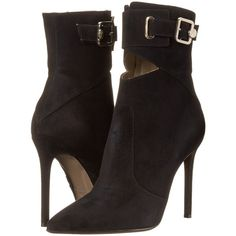 Versace Collection Pointed Toe Peek A Boo Ankle 100mm Bootie Women's... ($636) ❤ liked on Polyvore featuring shoes, boots and ankle booties