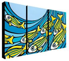 My husband bought me this one . . .it is beautiful.  Fish Riders Trio- 3, 12x24 Giclee on Canvas