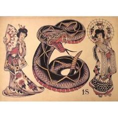 Image result for sailor jerry geisha tattoo