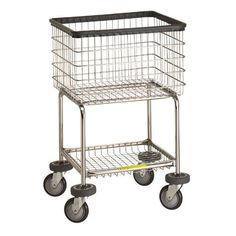This deluxe laundry cart provides an ergonomic design that minimizes bending and facilitates loading and unloading. The cart is equipped with a convenient bottom shelf to keep soap, bleach and other laundry or personal belongings conveniently located. The dual bumper system - basket and base protects all of your equipment and premises. Comes standard with chrome basket and base. This unit is equipped with a proprietary 5