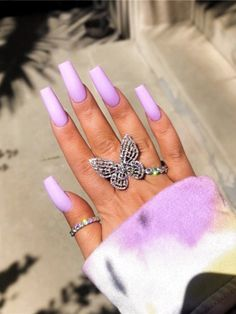 36 fabulous long coffin nail designs you need to try in 2020 - coffin . - 36 fabulous long coffin nail designs to try in 2020 – coffin nails are always the best choice for - Acrylic Nails Kylie Jenner, Pink Acrylic Nails, Purple Nails, Coffin Nails Long, Long Nails, Lavender Nails, Long Nail Designs, Broken Nails, Acrylic Nail Designs