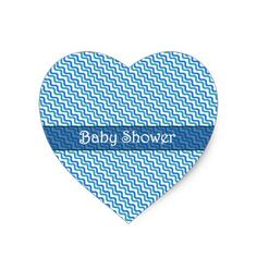 Baby Shower Turquoise Blue Wavy Heart Sticker