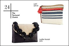 The Lazy Girl's Guide To Packing Like A Pro #refinery29  http://www.refinery29.com/travel-accessories#slide-25  24. The Textured Clutch   A textured clutch in summery-feeling raffia gives your going-out look extra depth. A 3D-embellished version with protruding, black florals goes with everything, and a multi-colored option with textured stripes instantly dresses up any look.