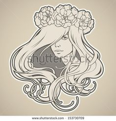 Art Nouveau styled girl with long hair in wreath - stock vector