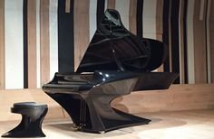 """But this piano is the newest and most major change since the instrument was first invented over 300 years ago. It is the Boganyi Piano or as some are calling it """"the bat piano"""" Future Gadgets, Cool Gadgets, Piano, Wood Stone, Cool Inventions, Space Age, Contemporary Interior, Household Items, How To Fall Asleep"""