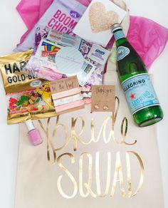 The Perfect Gifts For Your Bridesmaids Including Gold Foil Bride Squad Bash Bag