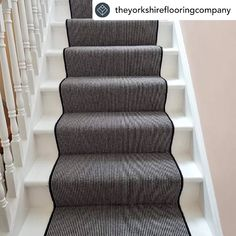 How amazing does this staircase look?! @theyorkshireflooringcompany have been busy creating this stunning custom runner along with full width stair & landing carpet for this Victorian hallway 🙌 The black and white stripes look superb against the white and pale pink decor Carpet: Deco Collection, Bermondsey Stripe To see the full range visit our website: www.hughmackay.co.uk #carpet #flooring #stairs #staircarpet #staircase #stairrunner #carpetrunner #victorian #victorianhallway #victorian Stairs Landing Carpet, Stair Landing, Carpet Stairs, Carpet Flooring, Victorian Stairs, Painted Stairs, Carpet Runner, Pale Pink, Bed Pillows