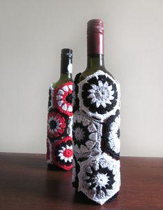 Black White and Silver Wine Bottle Cozy Crochet Monochrome Bottle Cover