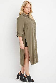Plus Size Longline High-Slit Tunic