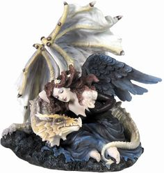 GothicDark Angel Protected By The Dragon Figurine Statuary Statue available at AllSculptures.com