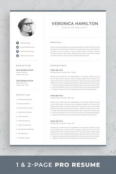 References Page Resume Resume Template  Professional Resume Template  1 And 2 Page Resume .