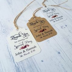 Personalised Boho Wedding Favour Tags, Thank You For Sharing Our Special Day, day Wedding Favor Tags, Wedding Thank You, Boho Wedding, Rustic Wedding, Personalized Wedding Favors, True Colors, Twine, Special Day, Gift Tags