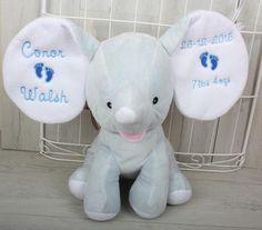 Personalised Keepsake Elephant Blue Personalised Teddy Bears, Babys 1st Christmas, Elephant, Dolls, Gifts, Blue, Personalized Teddy Bears, Presents, Doll