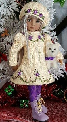 26 Ideas Crochet Patterns For Girls Dresses Daughters Crochet Doll Clothes, Knitted Dolls, Girl Doll Clothes, Doll Clothes Patterns, Crochet Dolls, Barbie Clothes, Girl Dolls, Crochet Baby, Sweater Knitting Patterns
