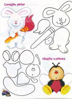 cute animals patterns / Artes com Moldes Felt Crafts Patterns, Paper Piecing Patterns, Applique Patterns, Foam Crafts, Paper Crafts, Scrapbook Patterns, Canson, Sewing Appliques, Felt Toys