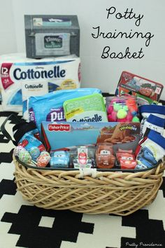 Fun and easy potty training basket to get little ones excited about going potty! (I love how its not filled with treats! Potty Training Rewards, Toddler Potty Training, Training Tips, Toddler Behavior, Getting Ready For Baby, Your Child, Little Ones, Easy, Basket