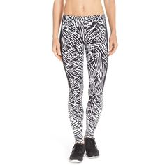 Nike 'Leg-A-See AOP' Print Leggings ($37) ❤ liked on Polyvore featuring pants, leggings, stretchy leggings, swim leggings, stretchy pants, stretch waist pants and flat-front pants