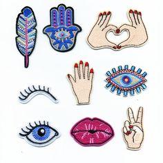 Nuevo Llegado Delicada Belleza Bordado Parches de Hierro En La Etiqueta de Ojos de La Pluma de Accesorios de Costura A Mano Con Motivos Apliques de Tela