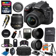 Nikon D3300 Digital SLR Camera +3 Lens 18-55 VR Lens Kit + 32GB +More Top Value #Nikon