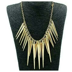 """Spike Tassels Necklace Gold spiked rivet tassels bib necklace, approximately 20"""" long including extender Jewelry Necklaces"""