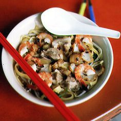 Kway Teow Soup with Shrimp and Pork by Saveur. This delicious soup from Singapore uses kway teow, a delicate flat rice noodle, but Chinese rice vermicelli can be substituted.