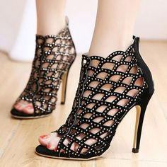 95fe8d18444f Womens Open Toe Cut Out Roman High Heel Sandals Party Ankle Boots Shoes.  Iconhunt