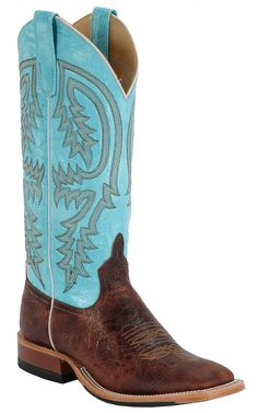 Anderson Bean Men's Chocolate Brown Volcano with Turquoise Double Welt Square Toe Boot