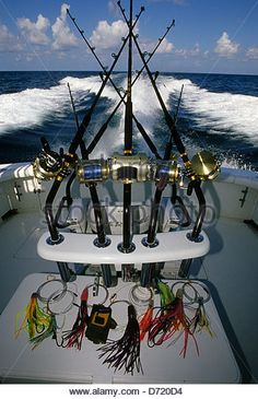 Trolling rods and reels used for offshore and deep sea fishing near Port Aransas Texas ...