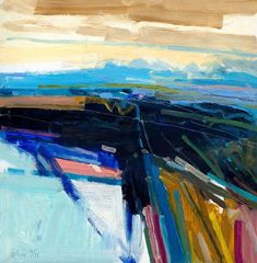 Peter Iden Artist: Landscape with Distant View Oil on board Estate of Peter Iden Number 54 Abstract Landscape Painting, Seascape Paintings, Abstract Oil, Abstract Canvas, Abstract Watercolor, Landscape Art, Landscape Paintings, Oil Paintings, Landscape Photography