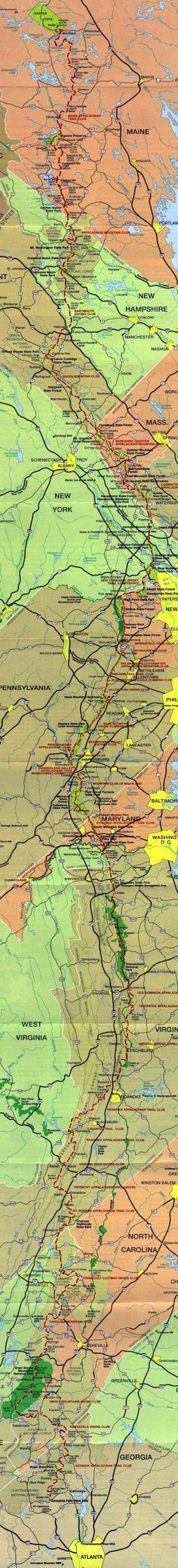 Appalachian Trail Map. I think this one is better at encompassing the magnitude of such a hike.