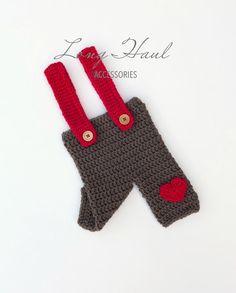 Ready to Ship,Valentine's Day, Baby Boy Overalls, Valentine's Day Photo Prop, Photography Prop, Crochet Pant, Crochet Overalls, Crochet Prop