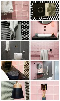 Bon's gone colour crazy combining black, blush and gold with square and round lines. Small Space Living, Small Spaces, Three Birds Renovations, Outdoor Tiles, Crazy Colour, Blush And Gold, Beach House, Honey, River