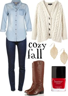 Gotta love denim, no sweater and possibly different boots like maybe ankle boots but same color